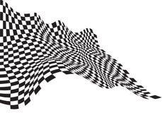 Il nero a quadretti dell'onda della bandiera su fondo bianco per il campionato della corsa di sport e l'affare finiscono il vetto Immagine Stock