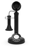 Il nero retro-ha designato il telefono su priorità bassa bianca Fotografia Stock