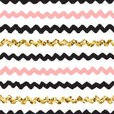 Il nero, il rosa e lo scarabocchio disegnato a mano dell'oro vector il modello di zigzag Immagine Stock