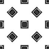 Il nero senza cuciture del modello multiconduttore moderno del CPU Fotografia Stock