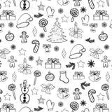 Il nero senza cuciture di scarabocchi di Natale su bianco Immagini Stock Libere da Diritti