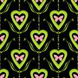 Il nero senza cuciture luminoso di struttura della farfalla dei cuori del modello del biglietto di S. Valentino Fotografie Stock