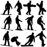 Il nero stabilito profila gli snowboarders su fondo bianco royalty illustrazione gratis