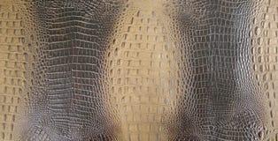 Il nero/struttura impressa marrone del cuoio posteriore dell'alligatore Immagini Stock Libere da Diritti