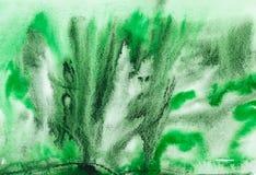 Il nero verde astratto dell'acquerello Fotografia Stock Libera da Diritti