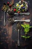 Il nero, verde e tisana Fotografia Stock Libera da Diritti