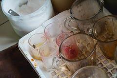 Il nettare dai residui del caffè al bordo della tazza di misurazione è un pasto fine dell'ape Ciò causa i problemi sanitari per i fotografia stock libera da diritti
