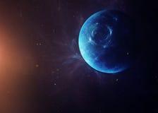 Il Nettuno con le lune da spazio che li mostra tutti Immagini Stock