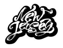 Il New Jersey autoadesivo Iscrizione moderna della mano di calligrafia per la stampa di serigrafia Fotografia Stock Libera da Diritti