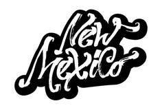 Il New Mexico autoadesivo Iscrizione moderna della mano di calligrafia per la stampa di serigrafia Immagini Stock Libere da Diritti