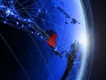 Il Nicaragua su terra digitale blu blu immagine stock libera da diritti