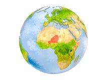 Il Niger sul globo isolato Fotografia Stock Libera da Diritti