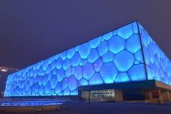 Il nightscape del cubo dell'acqua a Pechino, Cina Fotografia Stock