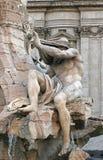 Il Nilo, parte della fontana famosa di quattro fiumi (dei Quattro Fiumi di Fontana) da Bernini a Roma Fotografia Stock Libera da Diritti