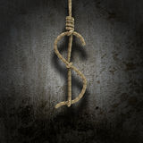 Il nodo del Hangman ha modellato come un dollaro Fotografia Stock