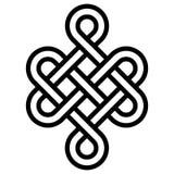 Il nodo mistico della longevità e della salute, la buona fortuna Feng Shui del segno, vector il nodo dell'infinito, tatuaggio di  illustrazione vettoriale