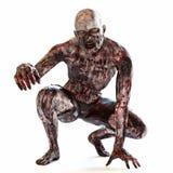 Il non morto assetato di sangue dello zombie che posa su un bianco ha isolato il fondo Fotografia Stock Libera da Diritti