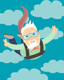 Il nonno che salta con un paracadute Immagine Stock Libera da Diritti