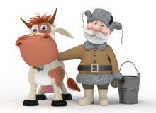 Il nonno 3D con una mucca Fotografia Stock Libera da Diritti