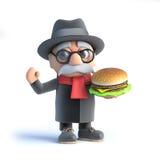 il nonno 3d ha un hamburger royalty illustrazione gratis