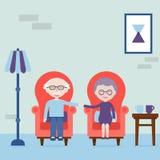 Il nonno e la nonna si tengono per mano e sedendosi in poltrona Ritenga sempre l'amore Il felice e l'amore anziani Illustrazione  royalty illustrazione gratis