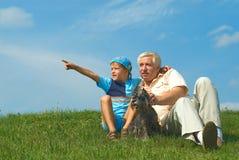 Il nonno e nipote Fotografie Stock Libere da Diritti
