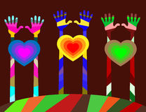 il nostro mondo ha molti colori, gioia, amicizia ed amore Fotografia Stock Libera da Diritti