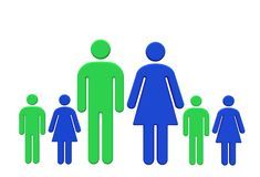 Il nucleo familiare con il padre ed i figli maschii verdi madre e figlie femminili blu royalty illustrazione gratis