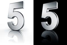 Il numero 5 sul pavimento bianco e nero Fotografia Stock Libera da Diritti