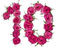 Il numero arabo 10, dieci, dai fiori rossi di è aumentato, isolato su wh Fotografie Stock Libere da Diritti