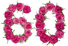 Il numero arabo 60, sessanta, dai fiori rossi di è aumentato, isolato sopra Fotografie Stock