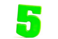 Il numero cinque ha fatto di plastica Fotografia Stock
