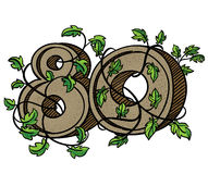 Il numero decorativo 80 ha decorato con i rami e le foglie Fotografie Stock Libere da Diritti