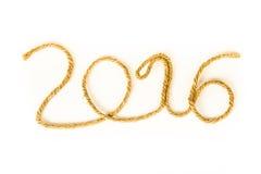 Il numero 2016 della corda su un fondo bianco Tema di Christmass Immagini Stock