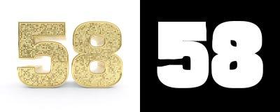 Il numero dorato cinquantotto numera 58 su fondo bianco con l'ombra del calo e l'alfa canale illustrazione 3D illustrazione di stock