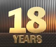 Il numero dorato diciotto numera 18 e gli anni di parola contro lo sfondo dei parallelepipedi rettangolari del metallo in Immagini Stock Libere da Diritti