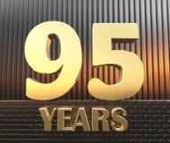 Il numero dorato novantacinque numera 95 e la parola Immagini Stock Libere da Diritti