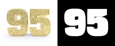 Il numero dorato novantacinque numera 95 su fondo bianco con l'ombra del calo e l'alfa canale illustrazione 3D illustrazione vettoriale