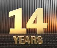 Il numero dorato quattordici numera 14 e gli anni di parola contro lo sfondo dei parallelepipedi rettangolari del metallo in Fotografie Stock Libere da Diritti