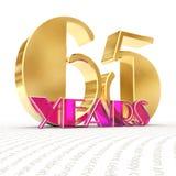 Il numero dorato sessantacinque numera 65 e la parola Fotografie Stock