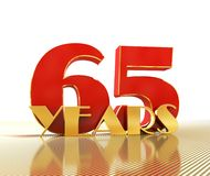Il numero dorato sessantacinque numera 65 e la parola Immagine Stock Libera da Diritti