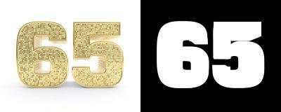 Il numero dorato sessantacinque numera 65 su fondo bianco con l'ombra del calo e l'alfa canale illustrazione 3D illustrazione di stock