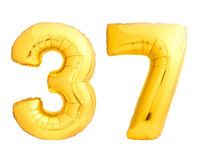 Il numero dorato 37 trentasette ha fatto del pallone gonfiabile Fotografie Stock