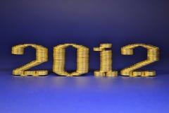 Il numero due mila dodicesimi ha posto le pile di monete Fotografia Stock
