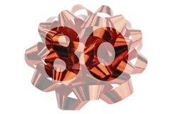 Il numero 80 ha evidenziato davanti ad un primo piano Fotografia di un arco rosso del regalo immagini stock