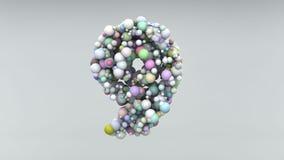 Il numero 9 ha fatto delle perle di plastica, bolle porpora, isolate su bianco, 3d rende Immagini Stock Libere da Diritti