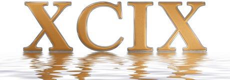 Il numero romano XCIX, il novem et il nonaginta, 99, novanta nove, riflettono Immagini Stock
