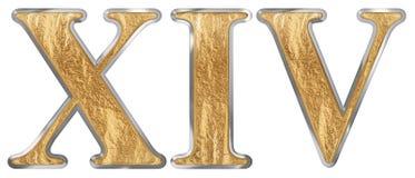 Il numero romano XIV, il quattuordecim, 14, quattordici, isolato su fondo bianco, 3d rende illustrazione di stock