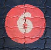 Il numero sei in un cerchio è sul campo da giuoco del sentiero per pedoni Fotografia Stock Libera da Diritti