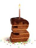 Il numero tre modella la torta di compleanno Fotografie Stock